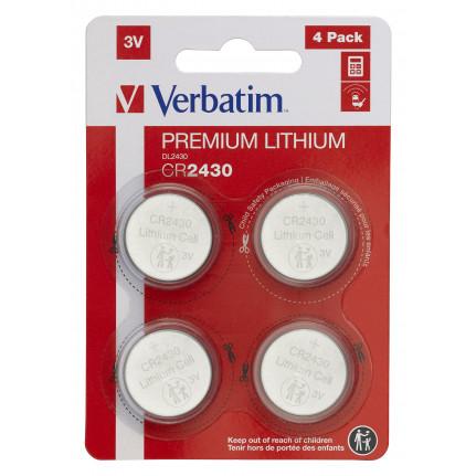 VERBATIM LITHIUM BATTERY CR2430 3V 4 PACK
