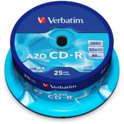 VERBATIM CD-R 80 Min/700 Mo Verbatim 52x AZO Crystal in en Cakebox 25 pièces