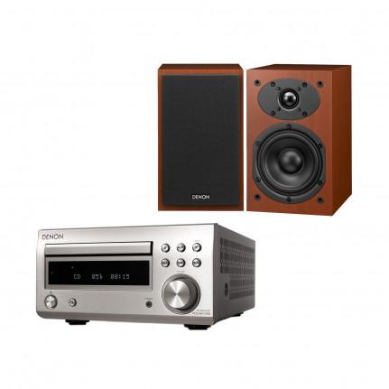 DENON Denon D-M41 DAB Argent/Bois - Micro-chaîne Hi-Fi 2 x 30 Watts avec lecteur CD/CD-R/CD-RW, tuner FM/DAB/DAB+ et Bluetooth