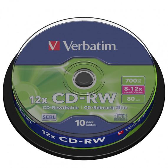 VERBATIM CD-RW 700 Mo certifié 12x (pack de 10, spindle)