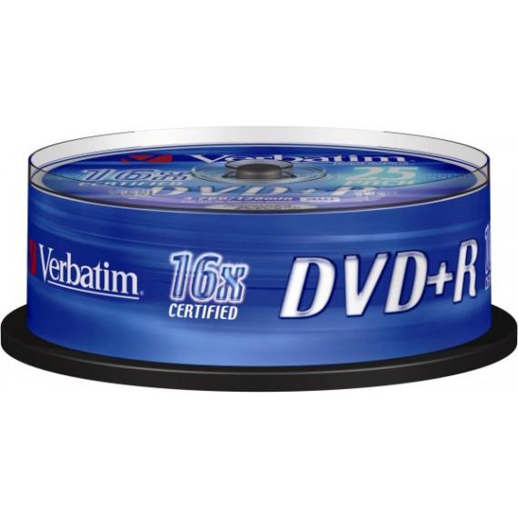 VERBATIM DVD+R 4.7 Go certifié 16x (pack de 25, spindle)