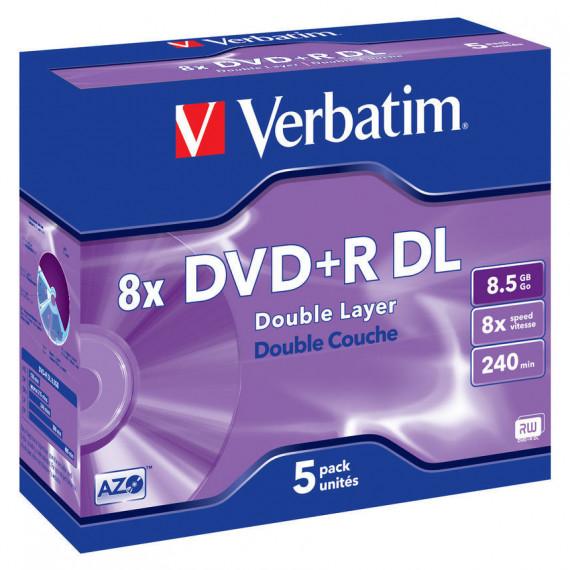 VERBATIM DVD+R DL 8.5 Go 8x 240 min (par 5, boitier jewel)