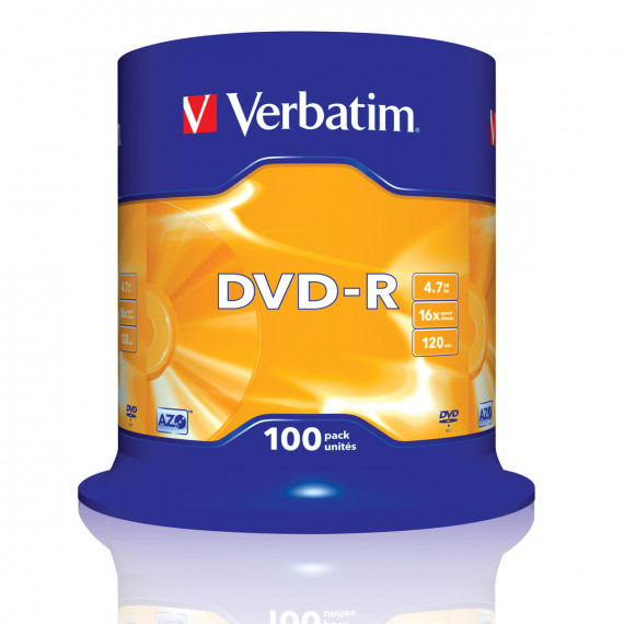 VERBATIM DVD-R 4.7 Go certifié 16x (pack de 100, spindle)