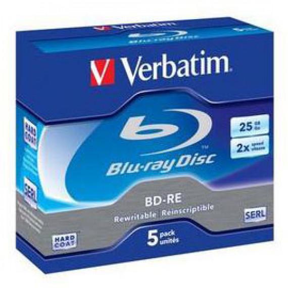 VERBATIM BD-RE 25 Go certifié 2x (pack de 5, boitier standard)