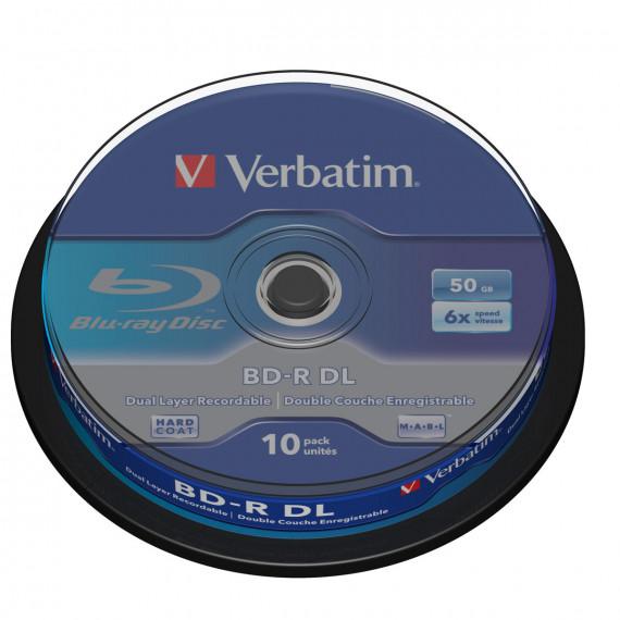 VERBATIM BD-R DL 50 GO CERTIFIÉ 6X (PACK DE 10, SPINDLE)