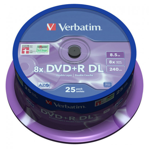 VERBATIM DVD+R DL 8.5 GO 8X 240 MIN (PAR 25, SPINDLE)