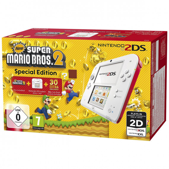 Nintendo Nintendo 2DS Blanche / Rouge + New Super Mario Bros. 2 - Console Nintendo 2DS + carte mémoire SDHC 4 Go + Adaptateur secteur + New Super Mario Bros. 2