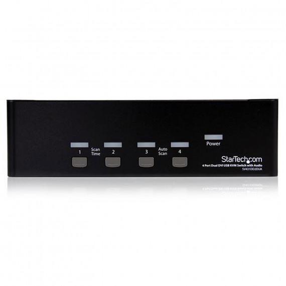 STARTECH Commutateur KVM DVI USB - pour 4 Ordinateurs avec Audio et 2 écrans DVI
