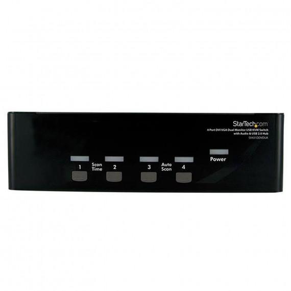 STARTECH Commutateur KVM DVI/VGA USB - pour 4 Ordinateurs avec Audio et 2 écrans DVI/VGA