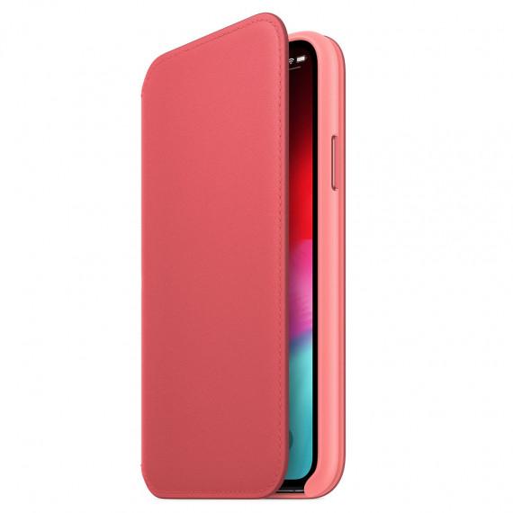 Apple Étui Folio en cuir Rose Pivoine iPhone Xs