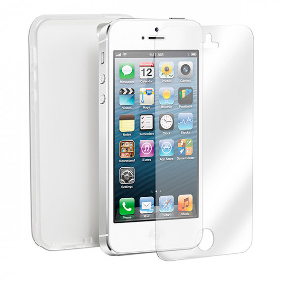 CAMPUS Coque iPhone 5  FlexShield silicone Blanc/Transparent + Film