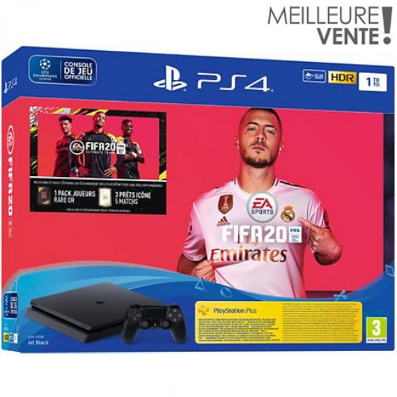 SONY Console PS4  PS4 Slim 1To Fifa 20 + Abo PS+ 14 jours