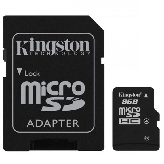 KINGSTON Carte mémoire microSDHC classe 4 8 Go avec adaptateur SD (garantie 10 ans par Kingston)