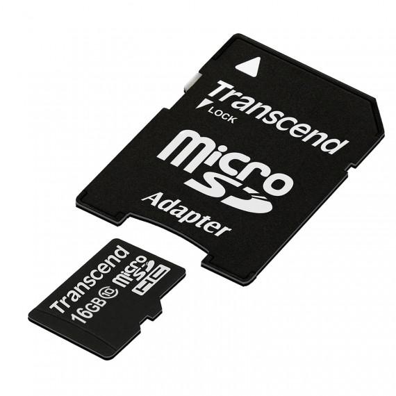 TRANSCEND Transcend TS16GUSDHC10 Carte microSDHC Class 10 avec adaptateur 16 Go