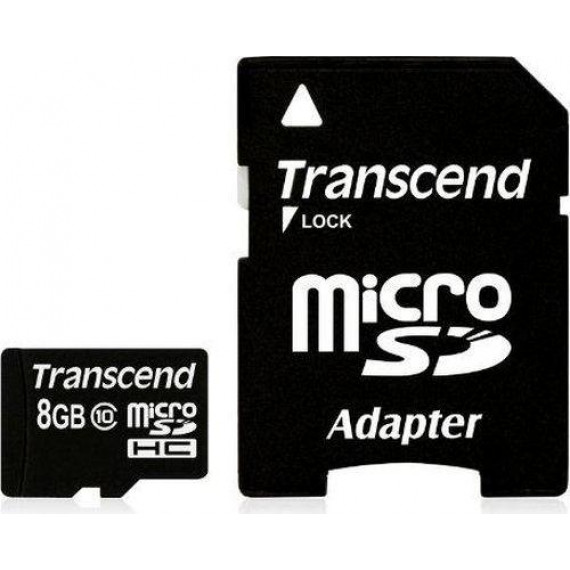 Carte Mémoire Transcend microSDHC Card 8 GB noir, Class 10