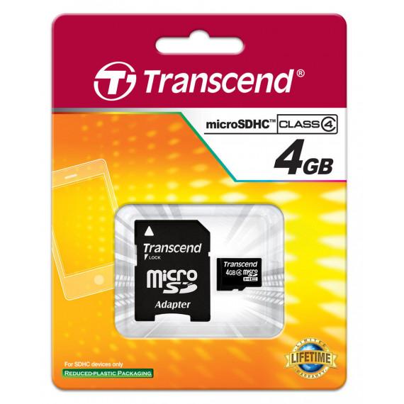 Carte Mémoire Transcend 4 GB microSDHC Class TS4GUSDHC4
