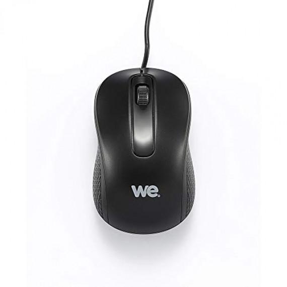 WE Souris filaire  1200DPI , USB, longeur câble 1.5m finition métallique noire