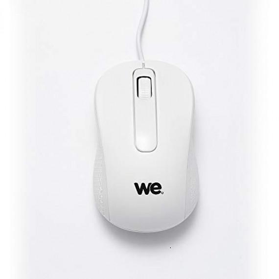 WE Souris filaire  1200DPI , USB, longeur câble 1.5m finition métallique blanche