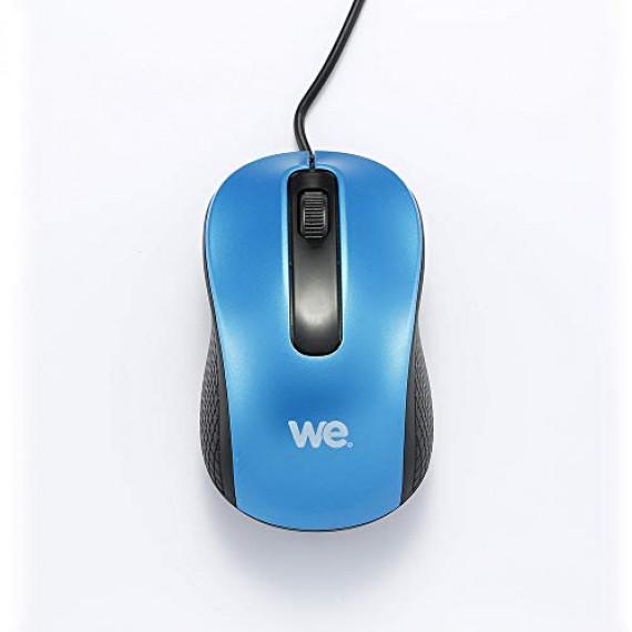 WE Souris filaire  1200DPI , USB, longeur câble 1.5m finition métalliq bleue