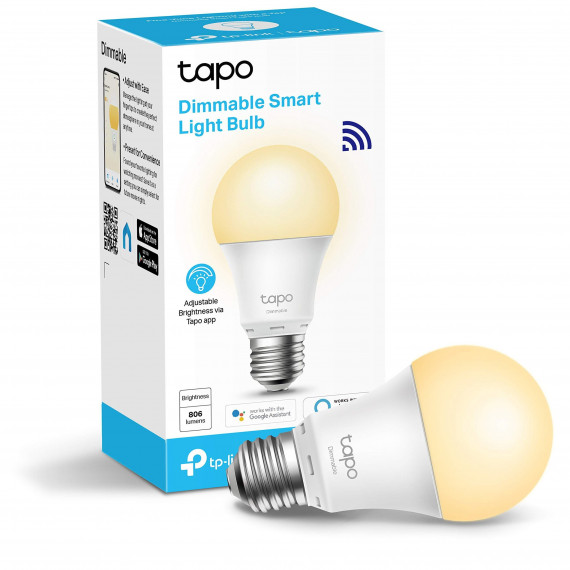 TPLINK Smart Wi-Fi Light Bulb, Dimmable, E27 base, 2700K, 220V, 50/60 Hz, 60W Equivalent, Energy Class A+, 2.4GHz, 802.11b/g/n, Tapo APP, Works with Alexa and Google Assistant, Timer and Schedule settings