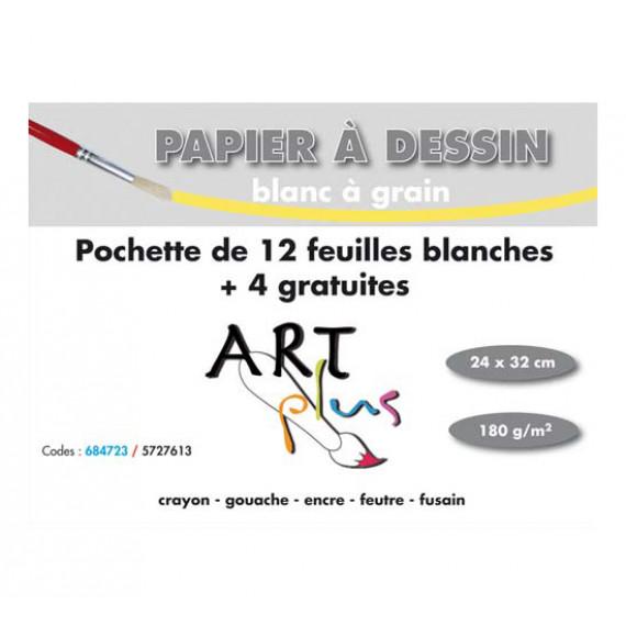 GENERIQUE Art Plus Pochette Papier dessin Blanc à grain (24 x 32)