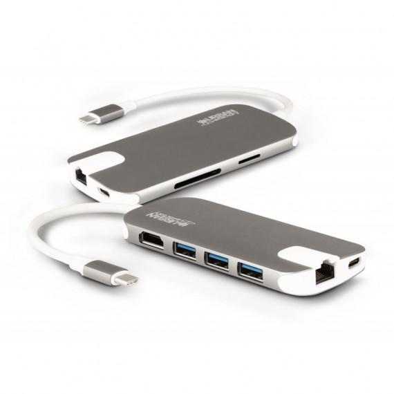 URBAN FACTORY Urban Factory Station mobile USB-C (Thunderbolt 3) - Réplicateur de ports USB Type-C (Ethernet / HDMI / USB 3.0 / SD)