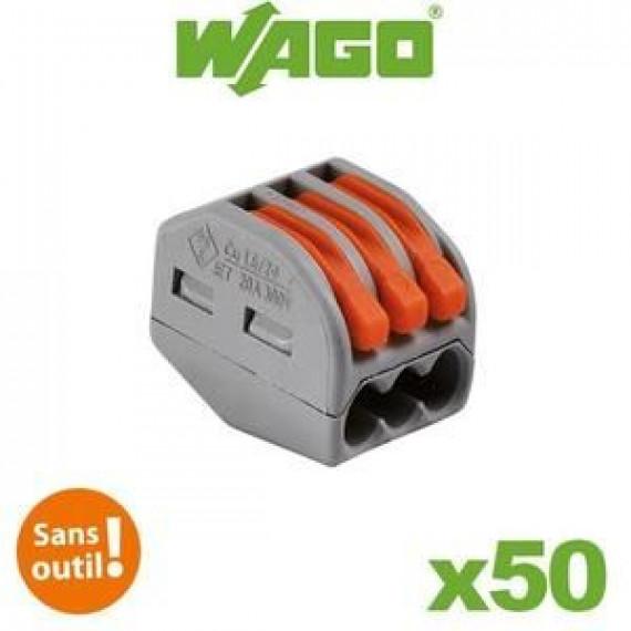 GENERIQUE WAGO Pack de 50 Bornes de connexion automatique S222 3 entrées par 50