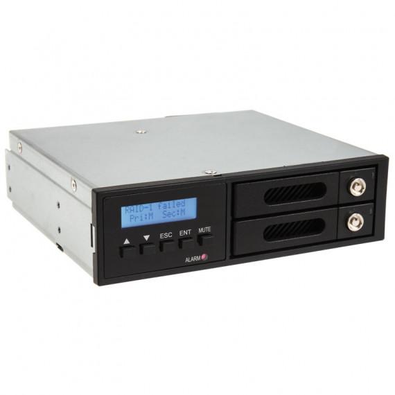"""SILVERSTONE SilverStone FSR202 - Rack verrouillable avec écran LCD pour 2 disques durs ou SSD 2.5"""" Serial ATA dans baie 5.25"""""""
