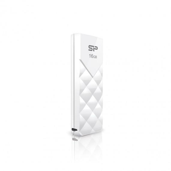 SILICON POWER CLE USB  U03 16GB PLASTIC BLANCHE USB 2.0 SP016GBUF2U03V1W