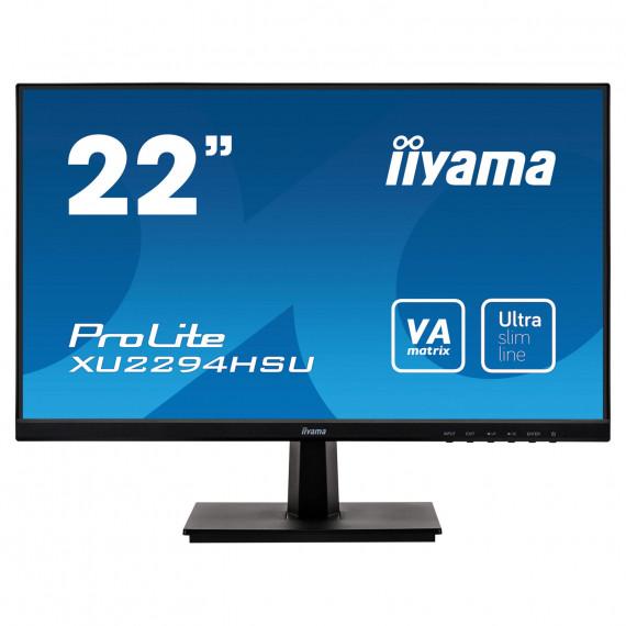 """IIYAMA 21,5"""" ULTRA MINCE, dalle VA, 1920x1080, 250cd/m2, haut-parleurs, DisplayPort, HDMI, VGA, 4ms, USB 2x2.0"""