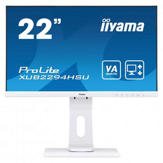 "IIYAMA 21,5"" ULTRA MINCE, dalle VA, 1920x1080, 250cd/m2, haut-parleurs DisplayPort, HDMI, VGA, 4ms, USB 2x2.0, pied réglable en hauteur"