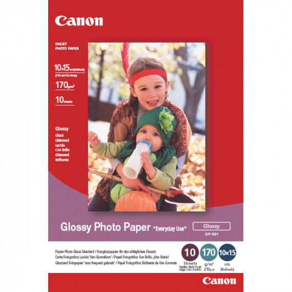 """CANON GP-501 10x15 - GP-501 - Papier Photo Glacé """"usage économique"""" 10x15 (100 feuilles), 170 g"""