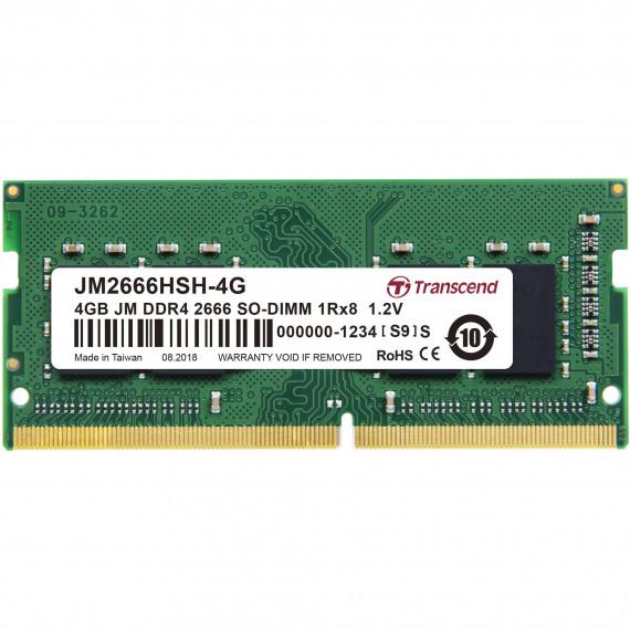 TRANSCEND 4GB JM DDR4 2666 SO-DIMM 1Rx8  4GB JM DDR4 2666 SO-DIMM 1Rx8 512Mx8 CL19 1.2V