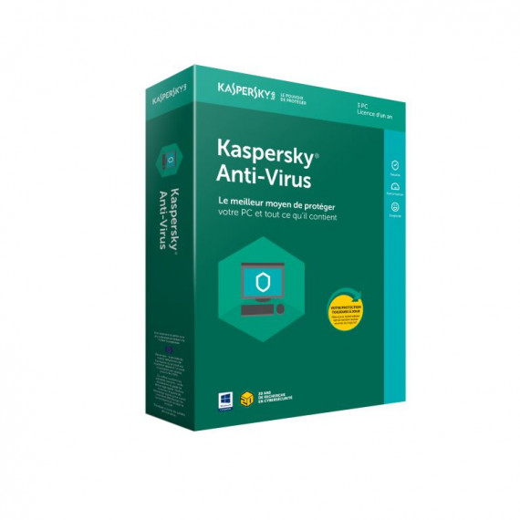 Kaspersky Anti-Virus 2018 - Licence 1 an 3 postes - Antivirus - Licence 1 an 3 postes (français, WINDOWS)