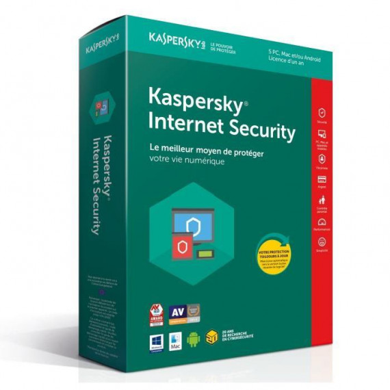 Kaspersky Internet Security 2018 - Licence 5 postes 1 an - Suite de sécurité internet - Licence 1 an 5 postes (français, WINDOWS et Mac)