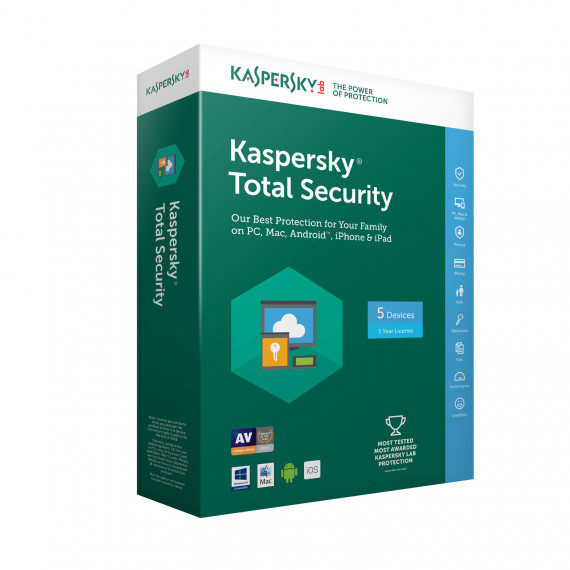 Kaspersky Total Security 2018 - Licence 5 postes 1 an - Suite de sécurité internet - Licence 1 an 5 postes (français, Windows, Mac, Android, iPhone et iPad)