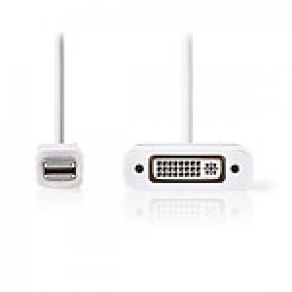 Nedis Câble Mini DisplayPort vers DVI Mini DisplayPort Mâle - DVI-D Femelle à 24 +1 Broches 0,2 m Blanc