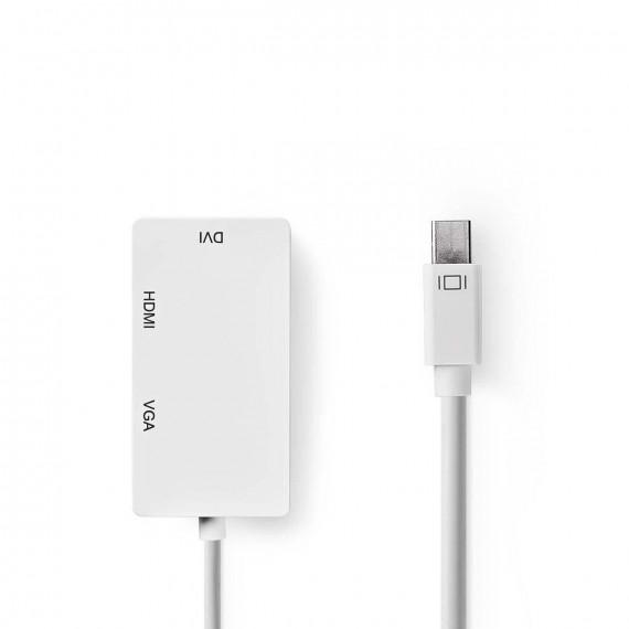 GENERIQUE Adaptateur multiple mini DisplayPort Mâle vers DVI + VGA + HDMI 0,20 m blanc