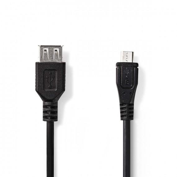 Nedis Câble USB 2.0 Micro B Mâle - A Femelle 0,2 m Noir