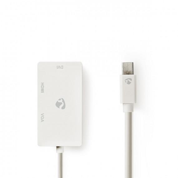 Nedis Câble Adaptateur Multiport Mini DisplayPort Mini DisplayPort Mâle - VGA Femelle / DVI-D Femelle à 24+1 Broches / Entrée HDMI 0,2 m Blanc