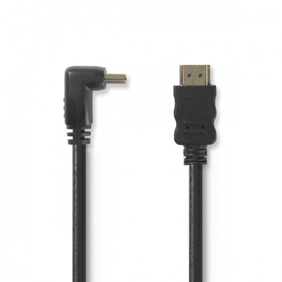 Nedis Câble HDMI™ Haute Vitesse avec Ethernet Connecteur HDMI - Connecteur HDMI Coudé à 90° 1,5 m Noir