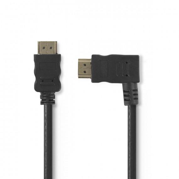 Nedis Câble HDMI™ Haute Vitesse avec Ethernet Connecteur HDMI - Connecteur HDMI Coudé vers la Droite 1,5 m Noir