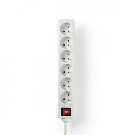 Nedis Prise d'Extension 6 entrées 1,5 m Interrupteur On/Off Blanc
