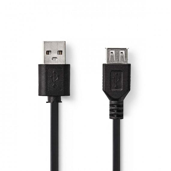 Nedis Câble USB 2.0 A Mâle - USB A Femelle 1,0 m Noir