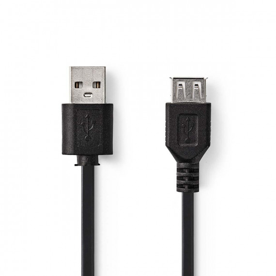 Nedis Câble USB 2.0 A Mâle - USB A Femelle 2,0 m Noir
