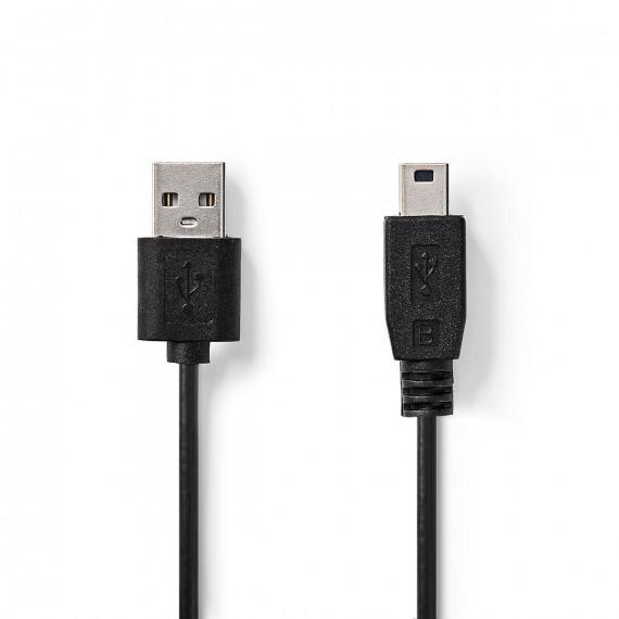 Nedis Câble USB 2.0 A Mâle - Mini Mâle à 5 Broches 1,0 m Noir