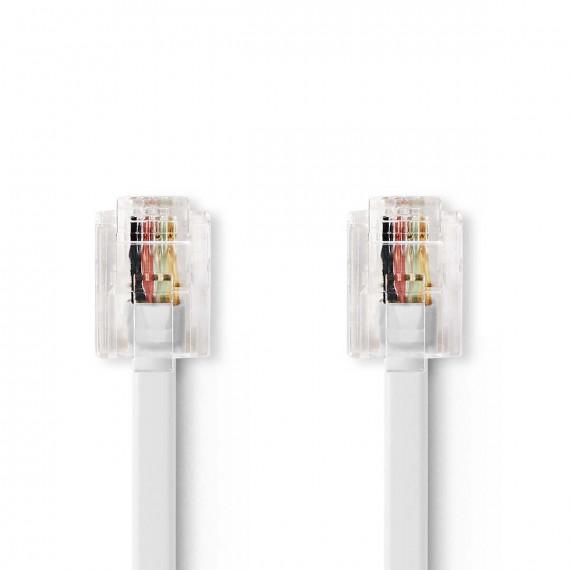 Nedis Câble de Télécommunications RJ11 Mâle - RJ11 Mâle 10,0 m Blanc