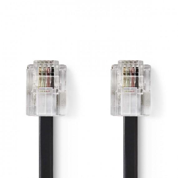 Nedis Câble de Télécommunication RJ11 (6P4C) femelle - RJ11 (6P4C) femelle Plat 5 m Noir