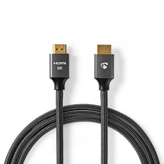 Nedis Câble HDMI Ultra-Haute Vitesse Connecteur HDMI™ vers Connecteur HDMI™ Gris métal Câble Tressé 1,0 m