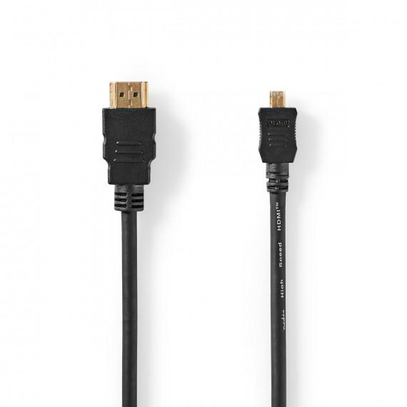 Nedis Câble HDMI™ Haute Vitesse avec Ethernet Connecteur HDMI™ Micro-connecteur HDMI™ 1,5 m Noir